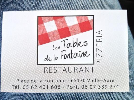 LES TABLES DE LA FONTAINE :                                     carte