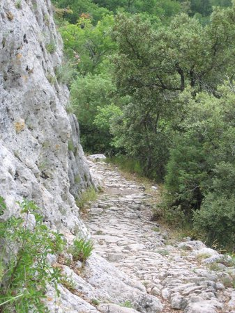 Fort de Buoux (Citadelle du Luberon) :                   View looking down the access pathway to the fort