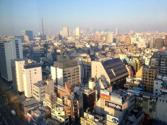 Tokyo Central Youth Hostel:                   view of downtown Tokyo from our room