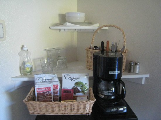 Sandpiper Inn:                   Coffee maker and extras to make a meal in the room easier.