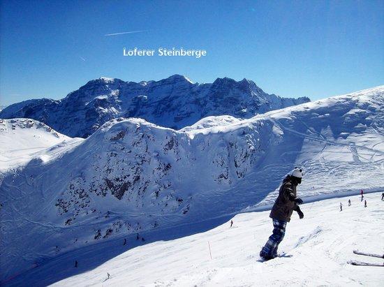 Steinplatte Aussicht Loferer Steinberge
