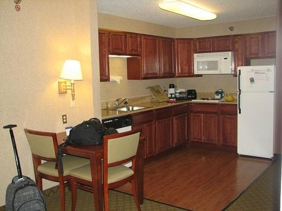 Homewood Suites by Hilton Chicago-Downtown:                   Living room in 1 bedroom 2 doubles suite, kitchen area