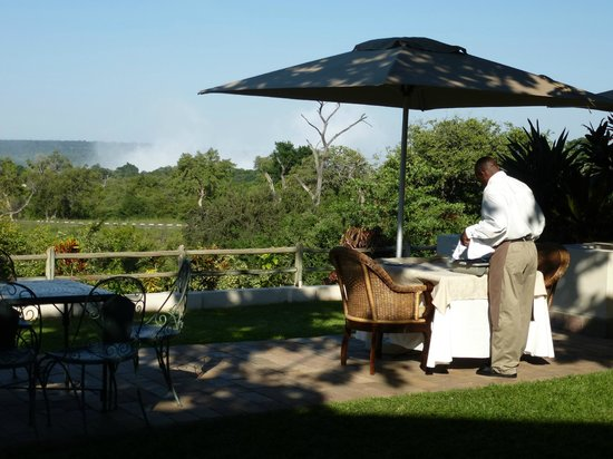 Ilala Lodge:                   Wonderful view on the mist of the waterfall when dining