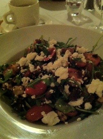 Portofino Ristorante:                   The Pancetta Salad:  A Symphony of crisp pancetta, candied walnuts, tomatoes &