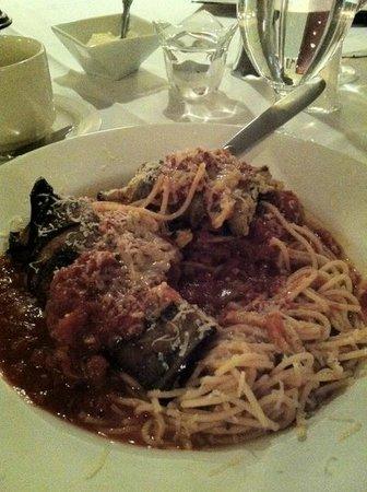 Portofino Ristorante:                   Eggplant Rollatini with Gluten-Free Angel Hair Pasta