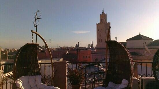 Riad Mur Akush:                   Morning view of mosque from roof terrace