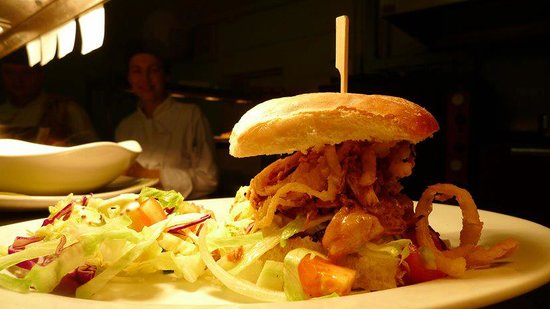 BBQ Chicken Sammich on a Waterford Blaa at Juju at the Johnstown Inn