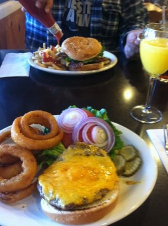Redwood Cafe:                   big and plenty burgers great onion rings