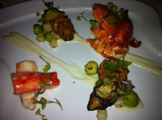 The Spiced Pear :                   Poached butter lobster with Alaskan crab
