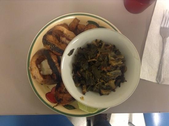 3 Delights:                   barracuda with collard greens