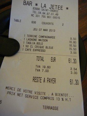 Bar Brasserie La jetee :                                     addition salée non justifiée