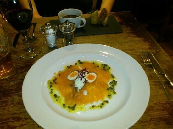 Old Bridge Inn:                   Smoked Salmon Starter, Lacked Flavour, Looks Lovely