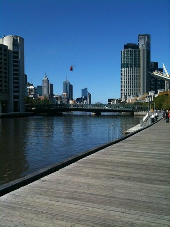 Hilton Melbourne South Wharf: Boardwalk towards City is about a minute walk from the hotel