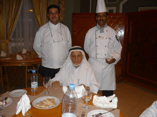 Holiday Inn Najran:                   Owner, chef and sous chef welcoming guests to dine with them