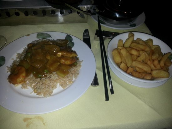 Amber Regent:                   Combination Curry, Egg Fried Rice & Chips