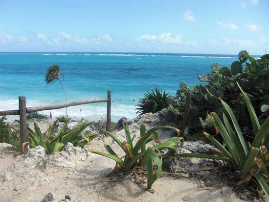 Cabanas Zazilkin:                                     blick von maya ruine tulum