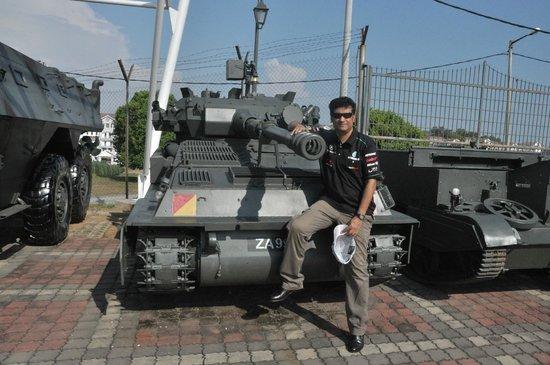 Tariq sitting on a tank, Army Museum, Port Dickson, Malaysia
