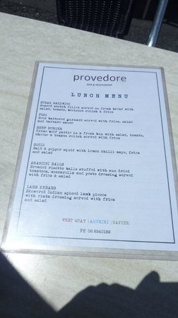 Provedore : il menù
