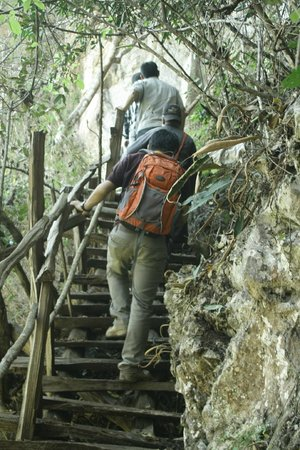 Hilltribe Villages :                   Staircase to Wood coffin cave