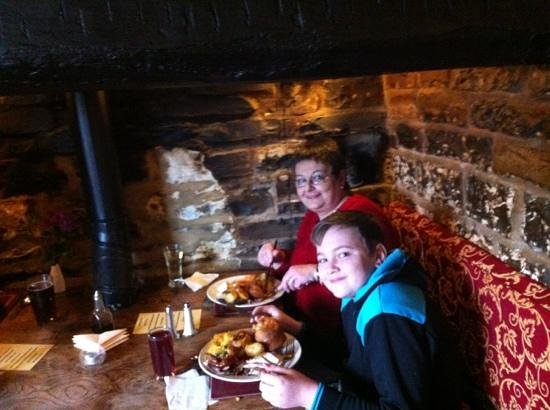 The Crown Inn at Catcott:                   yum yum in the inglenook