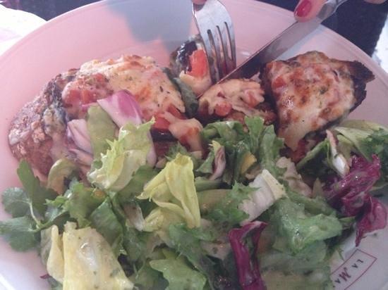La Maison du Pain:                   saint tropez tartine with salad