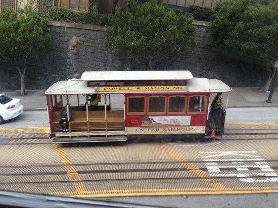 Powell Place :                   View of trolley from 2nd floor room.