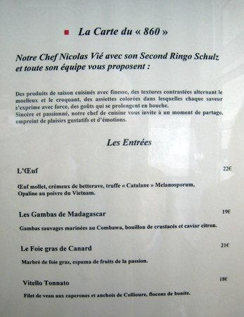 Restaurant Le 860 : menu