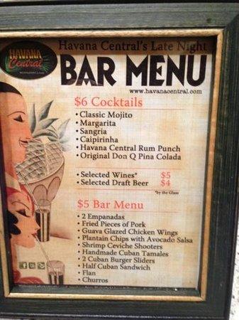 Havana Central:                   bar menu