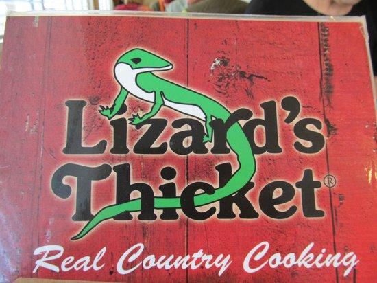 Lizard's Thicket Restaurant: Menu cover