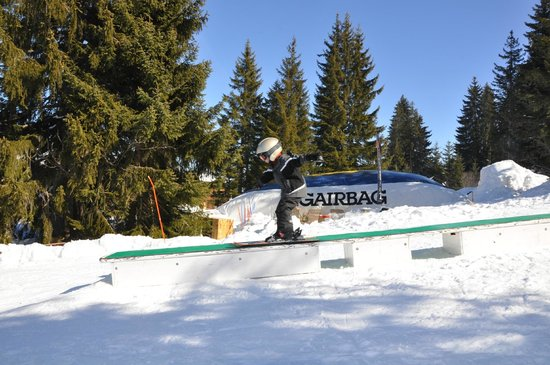 Saanewald Lodge:                   Big Air Bag and rails for training