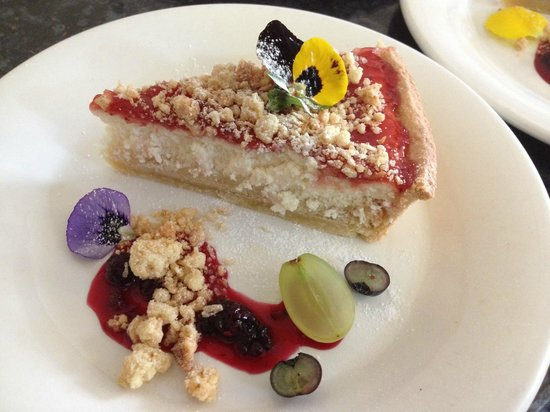 "Photo: ""Ricotta Cheesecake Tart. Strawberry jam, coconut crumble ..."