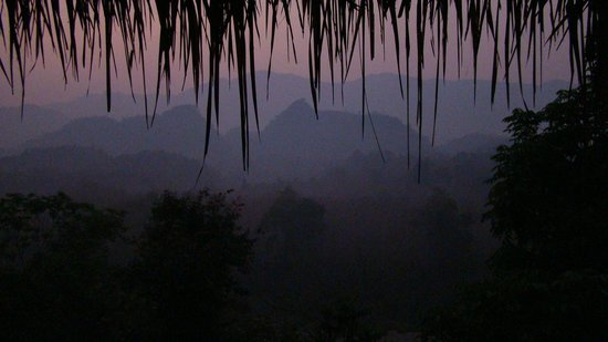 Zen Namkhan Boutique Resort :                   just before sunrise, view from