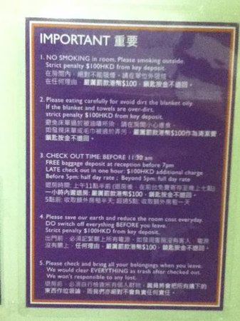 Oi Suen Guesthouse: important reminders