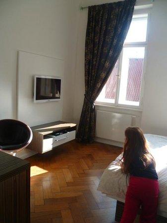 Malostranska Residence:                   belle pièce à vivre, très lumineuse et joliment décorée les éléments hifi son
