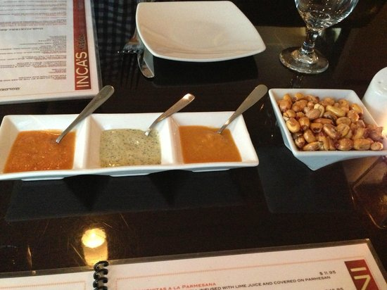 inca's kitchen: Fried corn and sauces -- free snack at every table