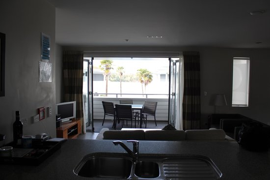The Waterfront Suites - Heritage Collection:                                     view out to deck and beyond from lounge