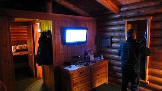 Cowboy Village Resort:                   view from living area into bedroom of king cabin