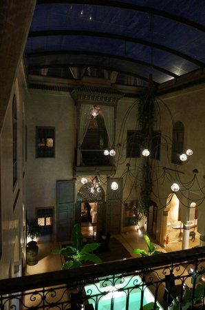 Riad Noir d'Ivoire :                   View from balcony into Riad