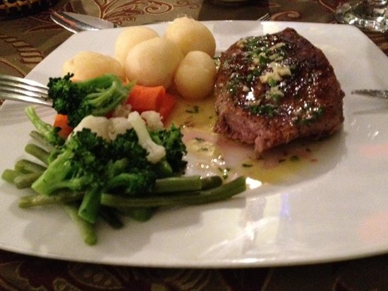 The Lantern Room:                   Beef steak with potatoes and vegetables - (sauce beside)