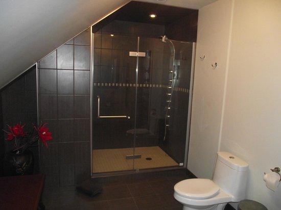Salle de bain avec grande douche en céramique au Gîte des ...