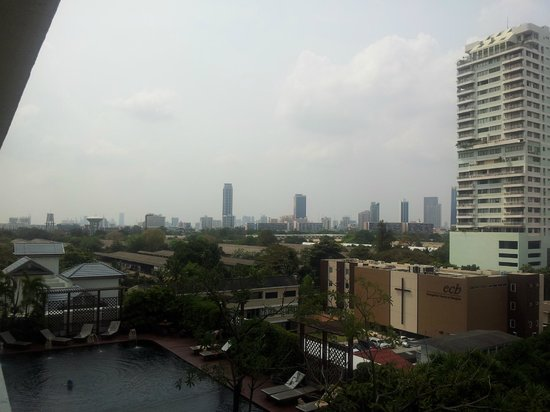 Centre Point Sukhumvit 10:                   View from terrace in room in 8th floor, pool is visible.