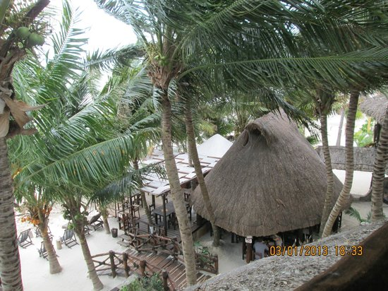 Beachfront La Palapa Hotel Adult Oriented:                   View from room to restaurant