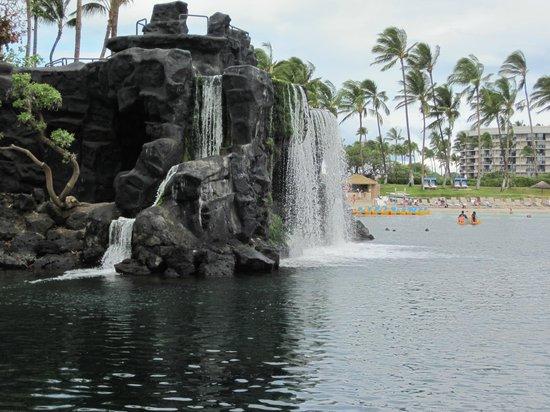 Hilton Waikoloa Village:                   Waterfall at the lagoon