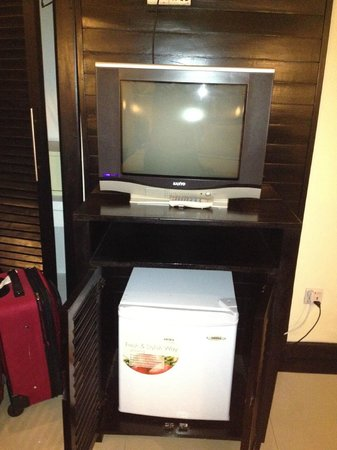 The Kool Hotel:                   The refrigerator is located under the TV. There are many viewing options in di