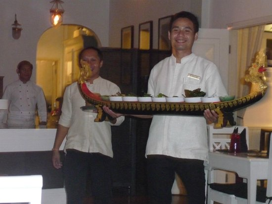 Maison Souvannaphoum Hotel:                                                       The Prince Naga Dinner served by the Golde