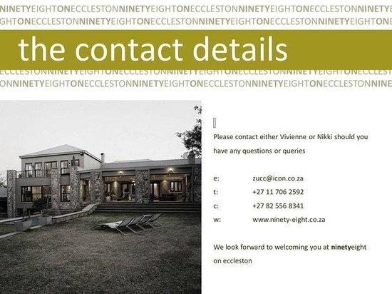 Ninetyeight on Eccleston: The Contact Details