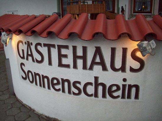 Gastehaus Sonnenschein:                                     Sign out front. Play fort in background