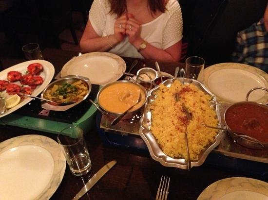 The India House:                   our dinner - tandoori prawn, lamb jalfrezi and a chiken korma
