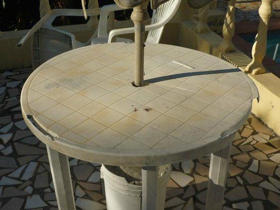 Heaven's Best Guest House & Restaurant: damaged poolside table