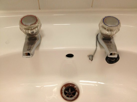 President Hotel:                   Fascinating bathroom sink...